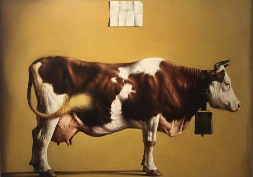 Grande mucca olio su tavola incamottata cm 130x165 - 20012002